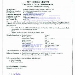 多路阀DNV产品证书